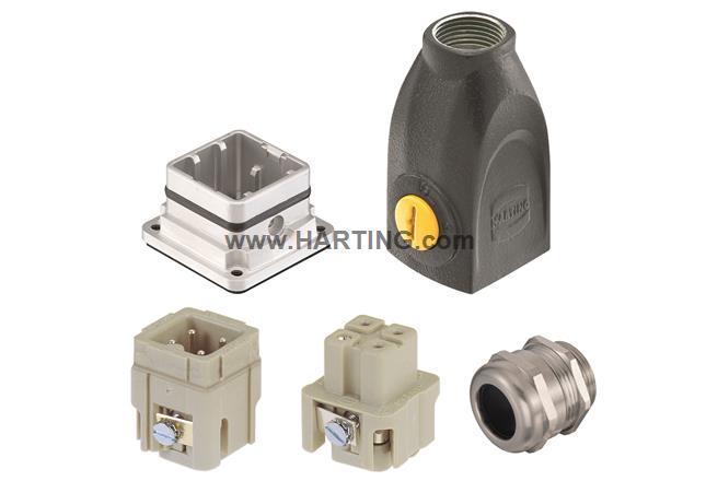 Han-Yellock 10 kit, 3+PE screw, straight