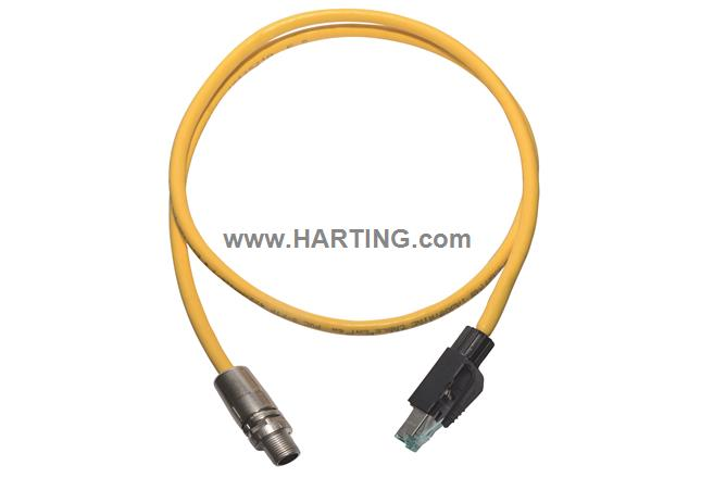 RJ45 - M12 x-code Cable Assy 1,0m PVC