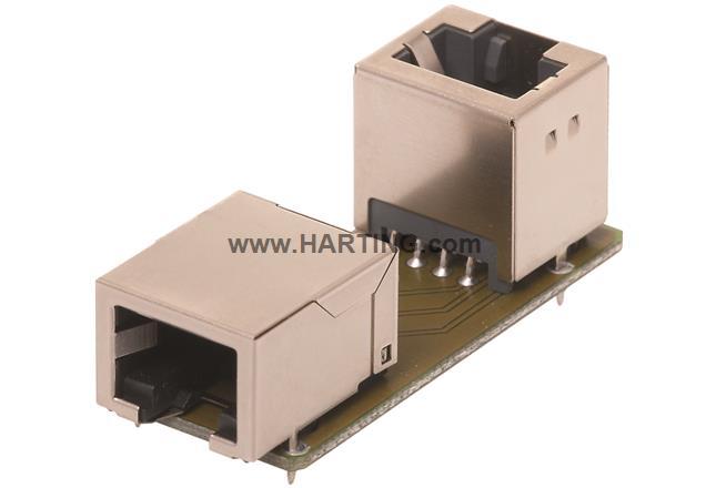 RJI RJ45 coupler PCB 2x RJ45 str.+angl.
