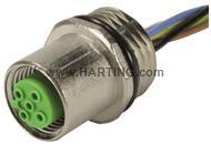 M12 flange socket with wire, 5pol.B-kod