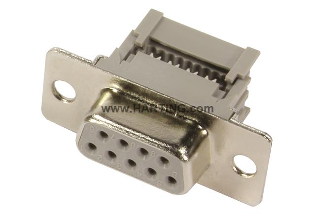 HARTING D-Sub Standard Connectors DSUB IP67 9POLE STR FRONT PLASTI, Pack of 2