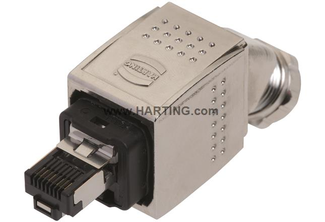 Han PP RJ45 PN metal plug set 45° bottom