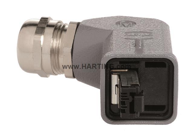 Han3A RJ45 Cat5 plug 4p IDC, angled