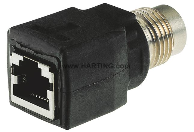 HARTING 21033216420-Sensor Connector Straight Panel Mount 4 Contacts Receptacle PCB Socket M12