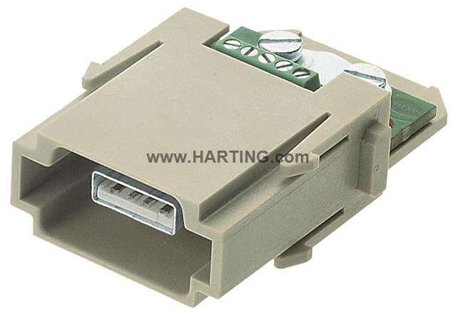 Han USB module, male screw terminal