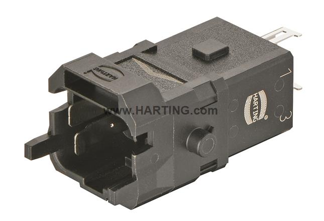 Han 1A-3+PE-c-m shielded, latch
